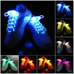 Wholesale Wholesale Led Shoes - 30pcs(15 pairs) Waterproof Light Up LED Shoelaces Fashion Flash Disco Party Glowing Night Sports Shoe Laces Strings Multicolors Luminous