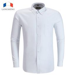 Wholesale Asian Dress Xl - Wholesale- Langmeng 2016 Spring Autumn Mens Dress Shirts Slim Fit Business Formal Shirt Long Sleeve Mens White Chemise Homme Asian Size