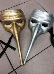 Wholesale Long Nose Half Masks - Mens Long Nose Gothic Venetian Mask Venetian Masquerade Mask Mardi Gras Halloween Prom One Size Fits Most (Gold, Silver, Black)