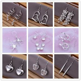 Wholesale Solid Sterling Silver Charms - Mix style 925 sterling silver plated dangle earing Small Solid Heart crown starfish charm Earrings for women jewelry