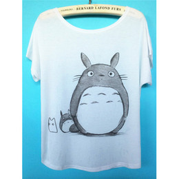 Wholesale Totoro Tshirt - Wholesale-High Quality New Brand 2016 Fashion Casual White Cotton Short Sleeve T Shirt Women Print Totoro Tee Tshirt Tops Femme