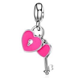 Wholesale Rose Gold Heart Lock Necklace - 50pcs lot Fashion Rose Enamel Heart Lock & Key Design Alloy metal DIY Charms fit European Bracelet&Necklace Low Price PED163