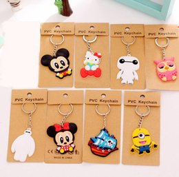 Wholesale Trendy Led Watches - Best gift Lovely Cartoon Silicone Car Keychain Creative Lovers Key Ring Small Hanging Key Ring KR039 Keychains mix order 20 pieces a lot