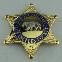 Wholesale 77 Cartoon - LAPD U.S. UNITED STATES LOS ANGELES COUNTY SHERIFF DEPUTY BEAR BADGE WITH NUMBER 77 PIN METAL PROPS COLLECTION BADGE