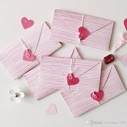 Wholesale Heart Shape Invitation - 2pcs heart shape envelope Invitation Greeting message card Christmas birthday wedding New Year party Gift card holiday Universal