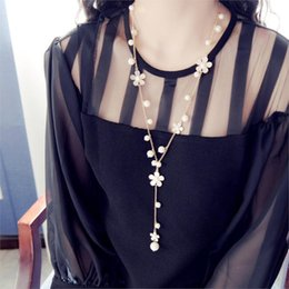 Wholesale Long Pearl Necklace Designs - Wholesale-New Fashion Simple design Trendy Romantic style Plastic Imitation Pearl Flower Women Jewelry Tassels Long necklaces 2016