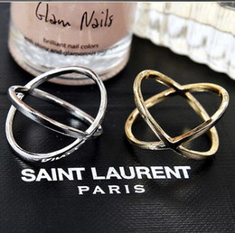 Wholesale gold three finger ring - Cross - three - dimensional hollow ring Korean version of the wholesale jewelry ring finger joint ring wholesale free shipping