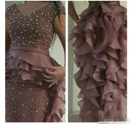 Wholesale Long Sleeved Satin Prom Dresses - 2017 Prom Dresses Rusty Purple Pearls Beaded Sheath V Neck Cap Sleeved With Ruffled Organza Skirt with Peplum and Back Split Evening Gowns