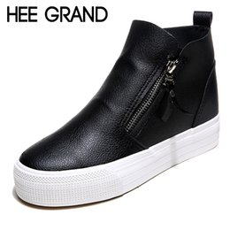 Wholesale High Platform Creepers Shoes - HEE GRAND Platform Women Boots 2016 Creepers British Style Ankle Boots Casual Shoes Woman Slip On Flats Size 35-40 XWX4068