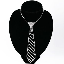 Wholesale Neck Collars Jewelry - Fashion Crystal Rhinestone Neck Tie Necklaces Pendants Long Silver Chain Choker Collar Necklace Women Wedding Bridal Jewelry