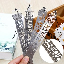 Wholesale Wholesale Fishing Books - Wholesale-1 X Cartoon bird fish metal bookmark with ruler material escolar papelaria bookmarks for books stationery 10cm