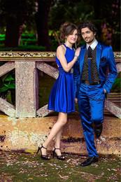 Wholesale Cheap Groomsmen Black Suits - Royal Blue Custom Made Cheap Man Groom Wear Silk & polyester Tuxedos Wedding Groomsman Men Bridegroom Suits