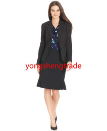 Wholesale Dark Green Pencil Skirt - Black Women Suit Two-Button Blazer & Pleated Pencil Skirt Customized Suit Notched Collar Welt Pockets Two Buttons 735