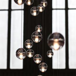 Wholesale Led Shower Light Control - LED Crystal Glass Ball Pendant Lamp Meteor Rain Ceiling Light Meteoric Shower Stair Bar Droplight Chandelier Lighting