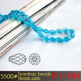 Wholesale 11mm Circle - Wholesale Faceted Normall Color Glass Crystal Teardrop Spacer Beads size 8*11mm For Jewelry Making 60pcs set (A5500)