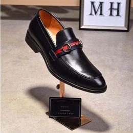 Wholesale Men Handmade Leather Dress Shoes - Man Dress Shoes Top luxury Men loafers Shoes GG fashion Style men shoes high quality handmade Man Wedding shoe size 39-44 169559665