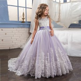 Wholesale Blue Christmas Ribbon - 2017 Princess Lilac Little Bride Long Pageant Dress for Girls Glitz Puffy Tulle Prom Dress Children Graduation Gown Vestido
