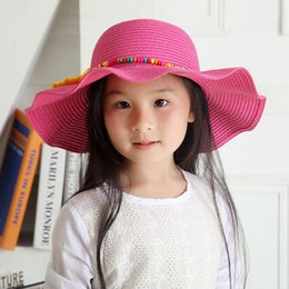 Wholesale Princess Protection - 2017 Spring Summer Child Straw Hat With Sunflower beaded Cute Princess Hat Wave Wide Brim Hats