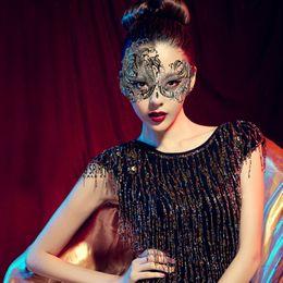 Wholesale Masquerade Masks Laser Cut - Wholesale-Sexy Venetian Masquerade Princess Mask Rhinestone Laser Cut Black Metal Women Party Ball