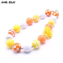 Wholesale Orange Chunky Necklaces - MHS.SUN Orange Color Halloween Baby Kid Chunky Necklace Fashion Toddlers Girls Bubblegum Bead Chunky Necklace Jewelry Gift For Children