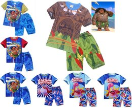Wholesale Boys Summer Piece - 2017 Moana Kids 2Pcs Outfits Set 7Colors Maui Short Tshirts Pants Boys Pajamas Clothing Sets Boys Summer Beach Casual Clothes DHL Shipping