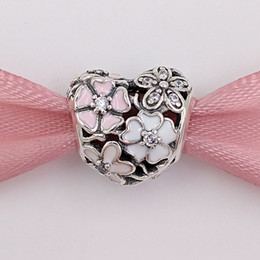 Wholesale European Cross Charm - Authentic 925 Sterling Silver Beads Poetic Blooms Charm Fits European Pandora Style Jewelry Bracelets & Necklace 791825ENMX