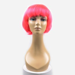 Wholesale Pink Cosplay Wigs Short - Burhair 100% Free Shipping Pink Color High Quality Short Cosplay Hair Wigs Heat Resistant Synthetic for Women