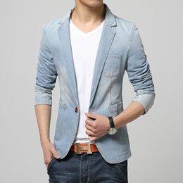 Wholesale Fitted Denim Blazer - Wholesale- Spring Autumn Hot Sale Men Slim Fit Denim Jacket Suit Men Blazer Men Trend Jeans Suits Casual Suit Jean Jacket;blazer uomo
