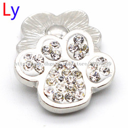 Wholesale Dog Ring Sport - Noosa metal chunk with crystal wholesale 20mm noosa rhinestone DOG PAW snap button interchangeable jewelry for noosa chunks bracelet NR0061