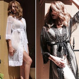 Wholesale Satin Babydoll Nightwear - Wholesale- Women Lace Robe Dress Satin Lingerie Babydoll Bath Robe Sleepwear Underwear Nightwear Sexy