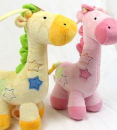 Wholesale Giraffe Boxes - 0-3Year Baby Toys giraffe Stuffed Animals Plush Toys music box Vihuela violin bed bell 4pcs lot WD100