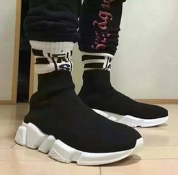 Wholesale Socks Slips - 2017 New Men and Women Designer Shoes Paris Famous Brand Speed Trainer Mid Black White Top Quality Sneakers Mens Sock Shoes Free Shipping