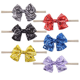 Wholesale ties head for girls - 6 Style Available Soft Fabric Silk Head Ties Nylon Headband With Cute Bows For Toddle Girl Infant Elastic Hairband