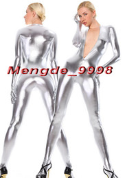 Wholesale Unisex Silver Bodysuit - New Silver Shiny Metallic Bodysuit Catsuit Costumes Sexy Front Zipper Body Suit Unisex Cosplay Costumes Outfit Halloween Cosplay Suit M071