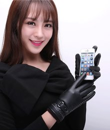 Wholesale Normal Wash - Unisex touch screen gloves autumn and winter simulation skin wash leather PU plus fleece warm ladies lovers gloves driving riding gloves
