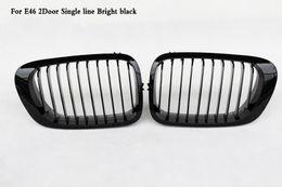 Wholesale Bmw E46 Grille - Single line Bright Matte Black Front Kidney Grille Fit For BMW 3-Series E46