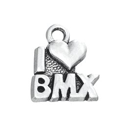 Wholesale quality text - High Quality Single-sided Metal Text Pendants Jewelry I Love BMX Charms