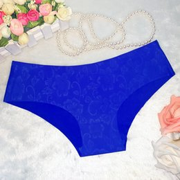 Wholesale Comfortable Panties - Ice silk pure color ultra thin seamless flower print underpants Low waist panties Women's thong comfortable sexy underwear