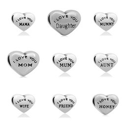 Wholesale Family Massages - comejewelry Massage I LOVE YOU MOM and My Family Stainless Steel Beads Charms Fit for Pandora for Jewelry Making for Women