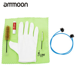 Wholesale Trombone Cleaning - wholesale Newest Brasswind Instrument Trumpet Trombone Tuba Horn Cleaning Set Kit Tool with Cleaning Cloth Brush Cork Grease Gloves