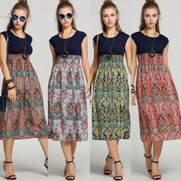 Wholesale Ladys Dresses - 2018 Desinger flower girls dresses Boho clothing Vintage Sleeveless High waist Long Dress Tank Ladys Summer