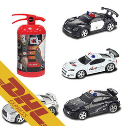 Wholesale Music Boxes For Gift - 40pcs lot 1:58 Mini Fire Pot RC Racing Car Police Cars LED Light Music Roadblock 4CH Radio Remote Control Vehicle Toys for Kids Xmas Gift