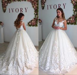 Wholesale Wedding Dresses Tank Straps - Ball Gown Wedding Dresses 2017 Chapel Train Sleeveless Tank Lace Appliques Deep V-Neck Zipper Bridal Gowns Vestidos De Noiva
