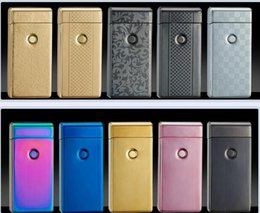 Wholesale Smoker Cigarette Wholesale - Wholesale Electric Arc Gold Colorful Charge USD Lighters Double Cross Twin Arc Pulse Electronic Cigarette Lighter Smoker Sexy ice man