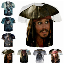 Wholesale Newest 3d Movies - Newest Fashion Men Women Movie Pirates of The Caribbean Jack Sparrow Summer Style Funny Unisex 3D Print Casual T-Shirt S---5XL AA596