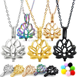 Wholesale Hollow Necklaces - Lotus Shape Necklace Hollow Out Aromatherapy Perfume Women Essential Oil Diffuser Locket Pendant Necklaces With Chain