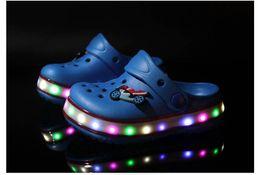 Wholesale Croc Red - Hot New Youth Boys Girls Fashion Summer Sandals Beach Croc Fit shoe Flip Flops Slippers EVA Shoes LED Light shoes