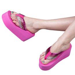 Wholesale Flower Tie Backs - Wholesale-Gamiss Bohemia Flower Women Bright Flip Flops Platform Wedges Ultra High Heels Women Sandals Platform Flip Slippers Beach Shoes