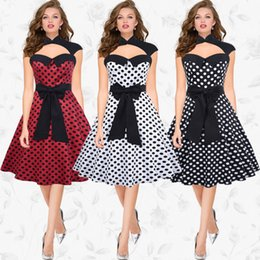 Wholesale Red Dotted Evening Dress - Sexy A Line Dress Large Swing Dresses Halter Patchwork Polka Dot Print Hot Fashion Elegant Bow Decoration Special Offer Evening Vestidos