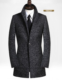 Wholesale Grey Mens Winter Dress Jacket - Wholesale- Black grey casual long sleeve wool coat men 2017 trench jackets and coats mens medium-long wool overcoats dress winter S - 9XL